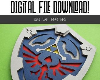 SVG Zelda-inspired Hylian Shield - DOWNLOAD DXF Cricut Cutting Files - Legend of Zelda video game inspired ornate gamer geek png bundle