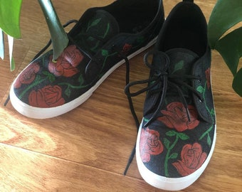Hand Painted Rose Shoes Unique Gift Etsy  Etsy