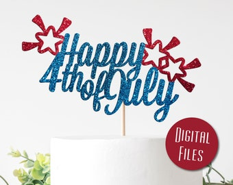 Happy 4th Cake Topper  Fourth of July Cake Topper