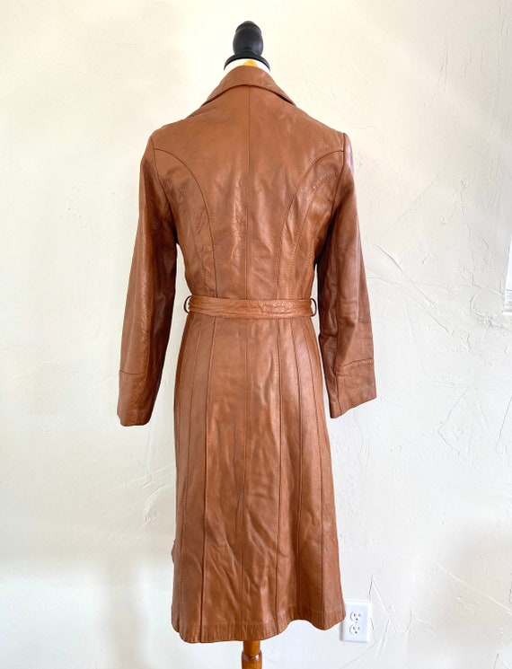 Vintage 70s Leather Trench Coat - image 3