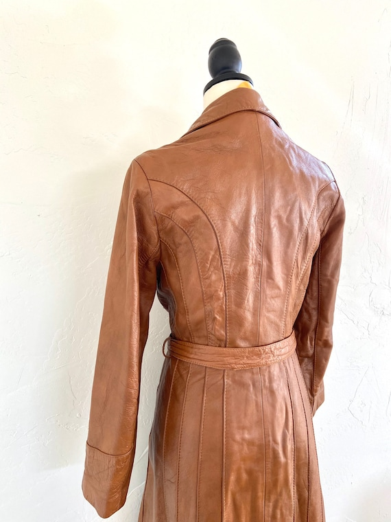 Vintage 70s Leather Trench Coat - image 4