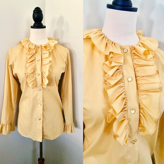 Vintage Yellow Ruffle Blouse - image 4