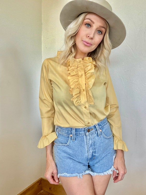 Vintage Yellow Ruffle Blouse - image 3