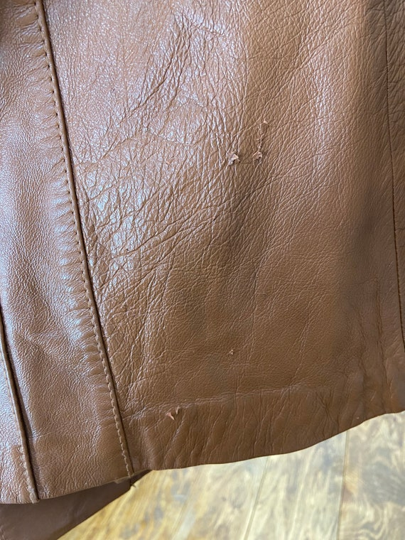 Vintage 70s Leather Trench Coat - image 7
