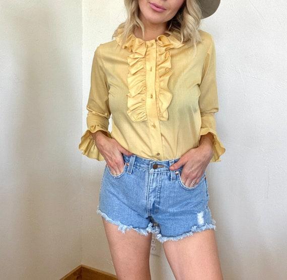 Vintage Yellow Ruffle Blouse - image 1