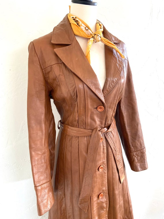 Vintage 70s Leather Trench Coat - image 2