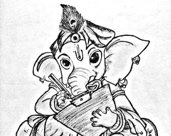 Items Similar To Lord Ganesha Original Drawing Oil Pastels