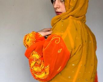 Rajasthani Flamenco Gypsy Two Piece Bhandani Upcycled Indian Silk Sari Purple