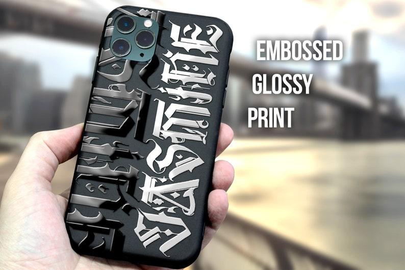 Custom Calligraphy iPhone Case Monogram Initial iphone cover Goth Tattoo Personalise Embossed Matte Black Gothic phone case designer