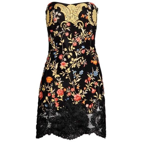 Christian Lacroix vintage floral strapless dress g