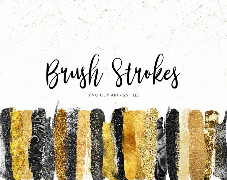 Gold and Black Brush Strokes Clipart Gold Strokes Black Paint Strokes Commercial Use Metallic Clip Art