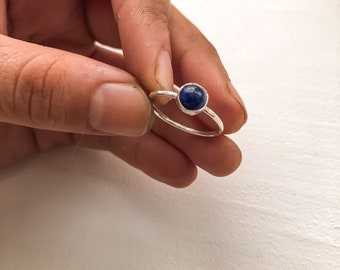 Five sterling silver stacking rings with a matching Lapis Lazuli ring Mix and match rings. Lapis Lazuli Stacking ring set