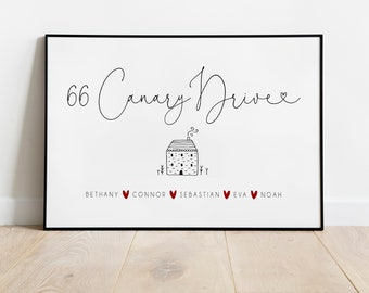 Personalised Family Print | Personalised Address Print | Couples Print | Family Name Print | Street Address Print | Love Print | Entry Way