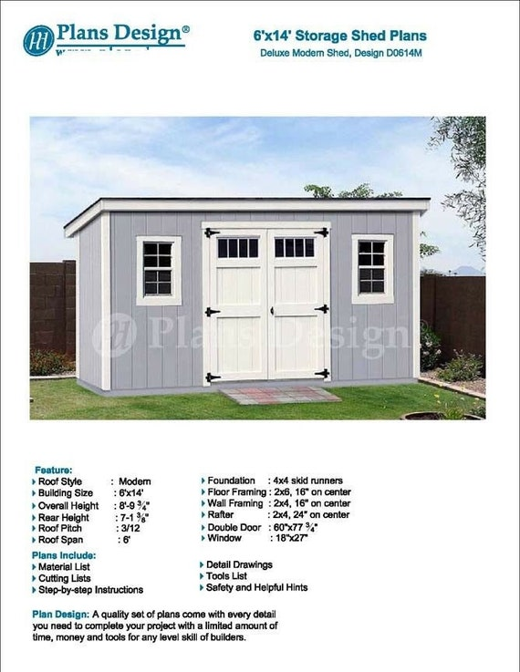 6 X 14 Deluxe Shed Plans Modern Roof Style Design Etsy