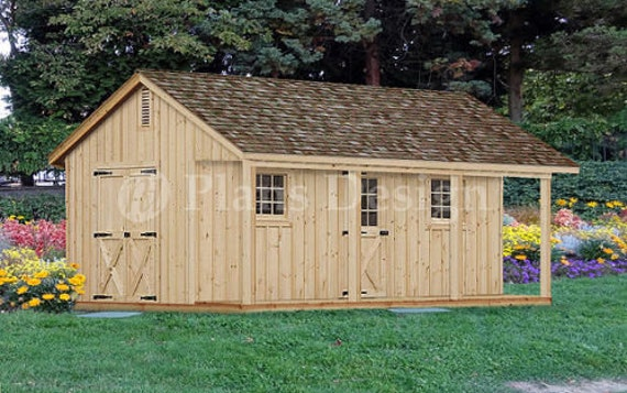 18 X 24 Shed With Covered Porch Small Cottage Or Cabin Building Plans P51824
