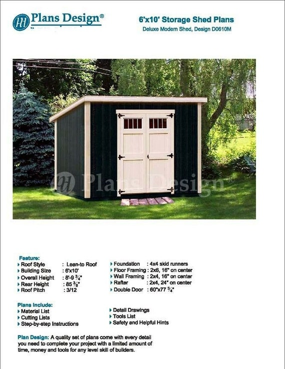 6 X 10 Deluxe Shed Plans Modern Roof Style Design Etsy