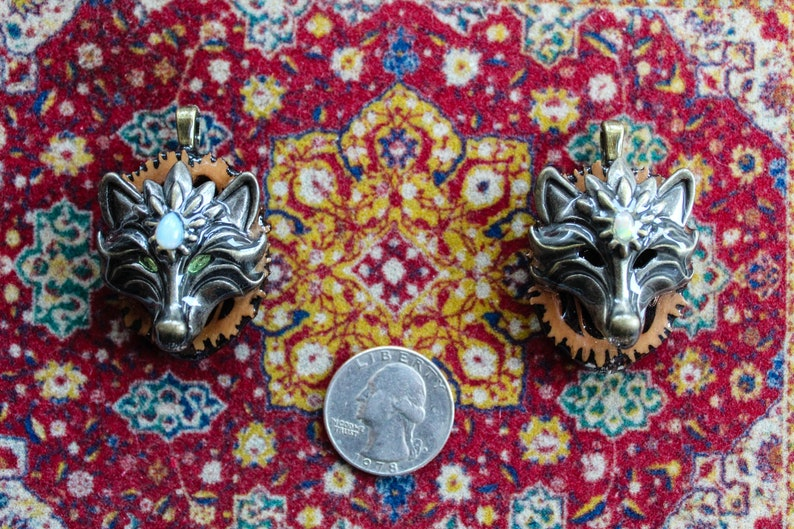 PAIR 3rd Eye Wolves with Opals and Peridot HYPNOMADIC healing music festival black walnut pendant set