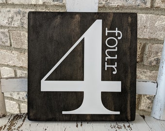 Customized Number Sign, Family Number Sign, Number Sign, Farmhouse Number Sign, Square Number Sign