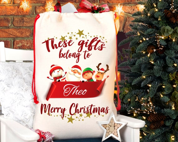 vpk Personalised Name Large Dear Santa Leave Cash 8 Christmas Sack 70cm x 50cm Fill Gifts Stocking