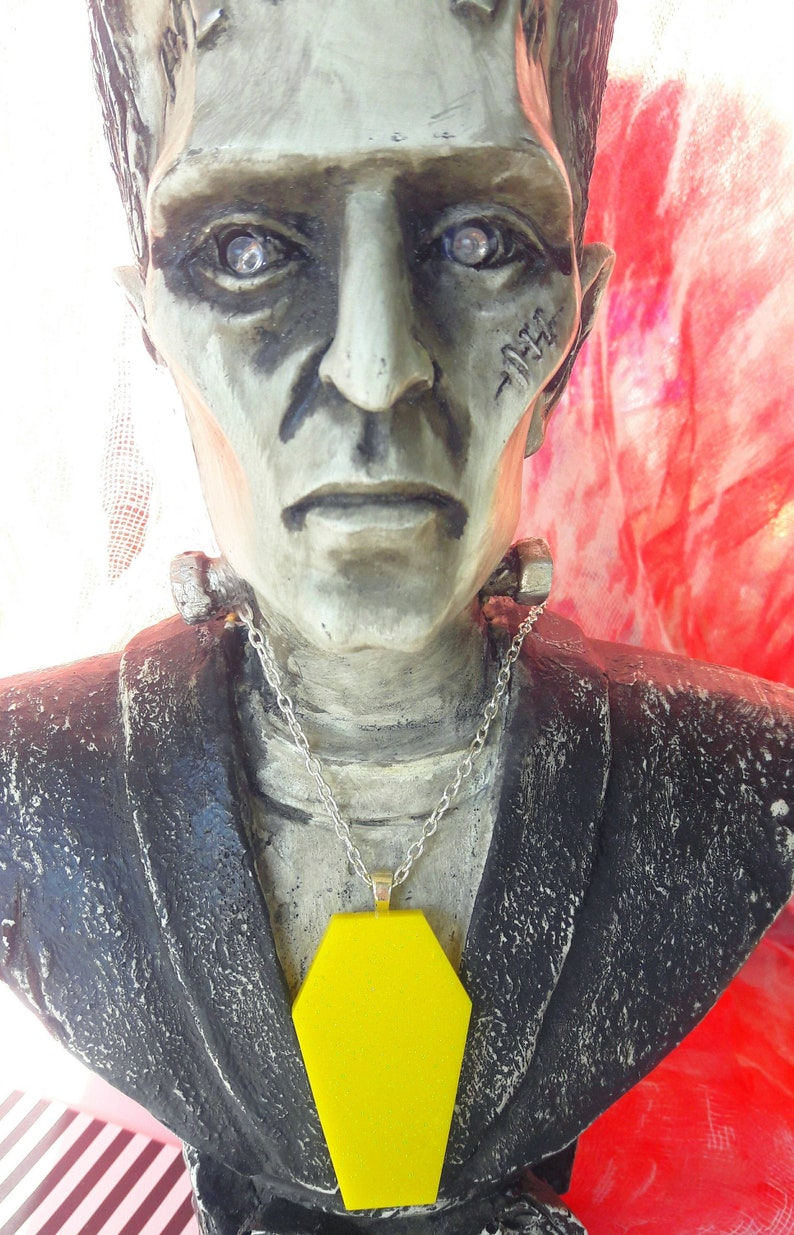 Yellow Glittered Coffin Necklace