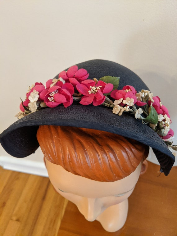 1950s Navy Blue Halo Hat