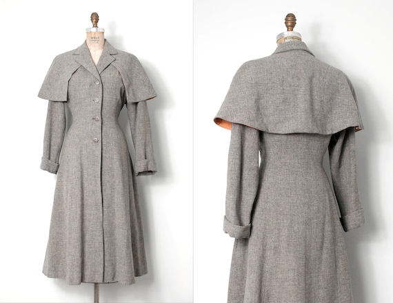 Vintage 1940s Princess Coat / Grey 40s Princess Co