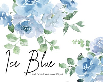 Blue Watercolor Floral Clipart Light Blue Flowers Clip Art Baby Blue Dusty Blue Bouquet Wreath Wedding Graphics Greenery Spring Clipart PNG
