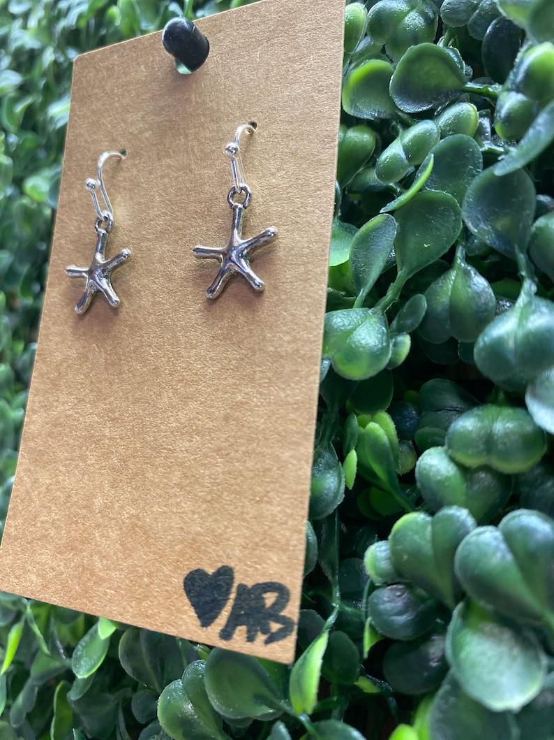 Fashion Jewelry Statement Earrings Beach Vacation Silver Star Fish Earrings
