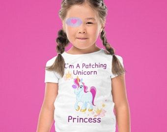 Unicorn Eye Patch Princess T-Shirt/Amblyopia Girl Wearing Eye Patches/Unicorn Shirt For Little Girl Wearing And Eye Patch/Eye Patch Puppets