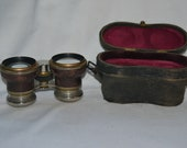 Vintage French Opera Field Marine Glasses with Case, Antique Leather Brass