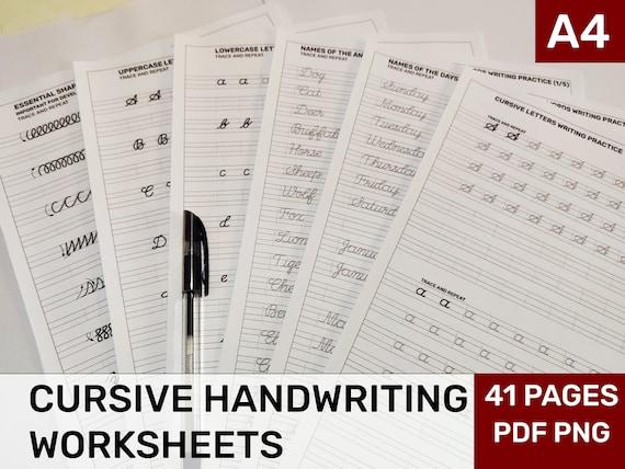 Printable Cursive Handwriting Worksheets Printable Etsy