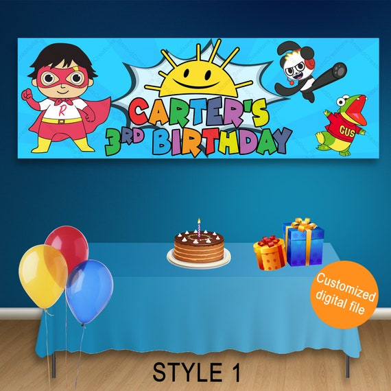 Ryans Toy Review Roblox Character Ryan S World Birthday Banner Ryan S Toy Review Etsy