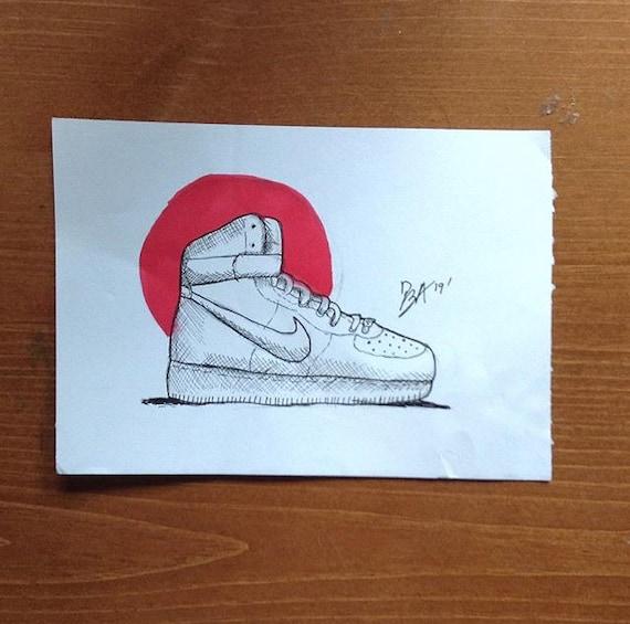 air force 1 con disegno a pennarello