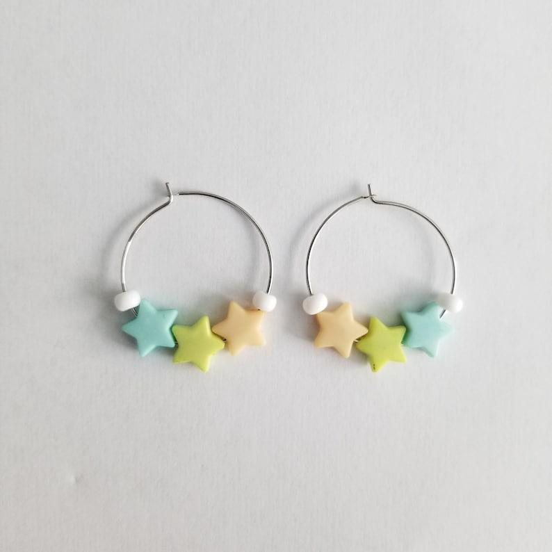 Fairy Kei Star Hoop Earrings