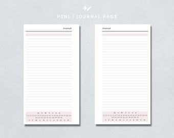 Personal size - Journal Pages/Journaling Inserts - Printable Planner Inserts for Filofax/Rings