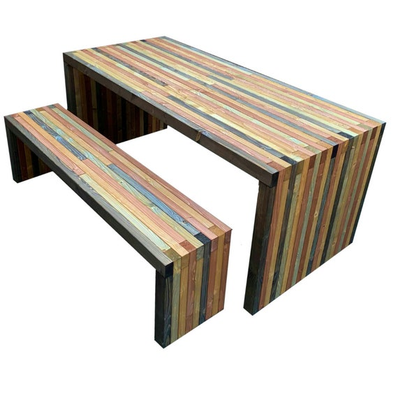 Wooden Garden Furniture Set Solid Handmade   Etsy