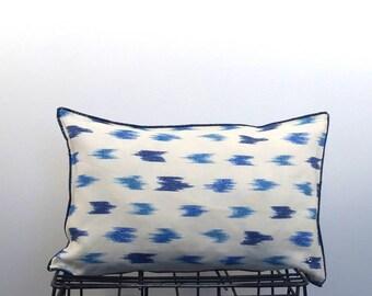 Rectangular cushion / linen /blue, white / lumbar pillow / linen / blue / white /