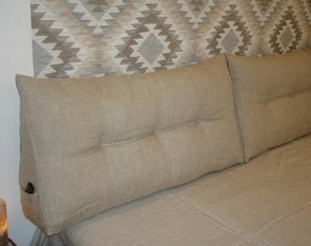 Organic bedside cushion.cushion prop.linen pillow triangular.Backrest Cushion.Natural cotton lumbar cushion.pillow tatami.