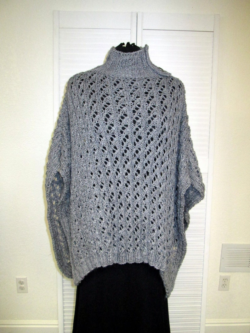 Soft Wool Knit Poncho with Faux Button Collar