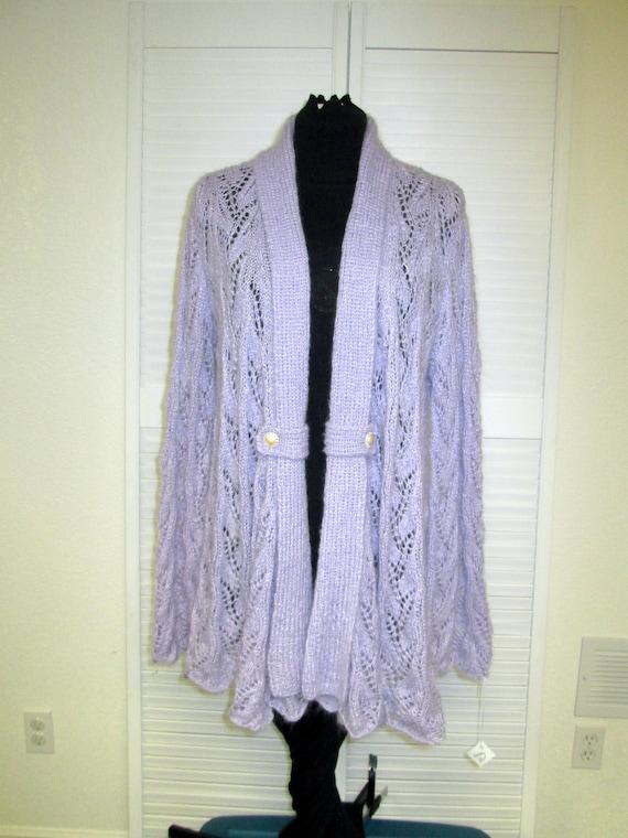 Lacey Lavendar Hand Knit Drapey Cardigan Jacket Etsy