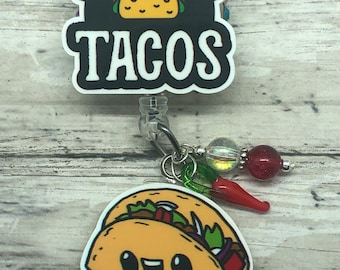 Will run for tacos name badge holder/badge reel