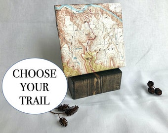 Personalized Custom Trail Map Gift | Unique Gift for Hikers or Outdoor Lovers | Topographic Map Print on Tile with Wood Stand