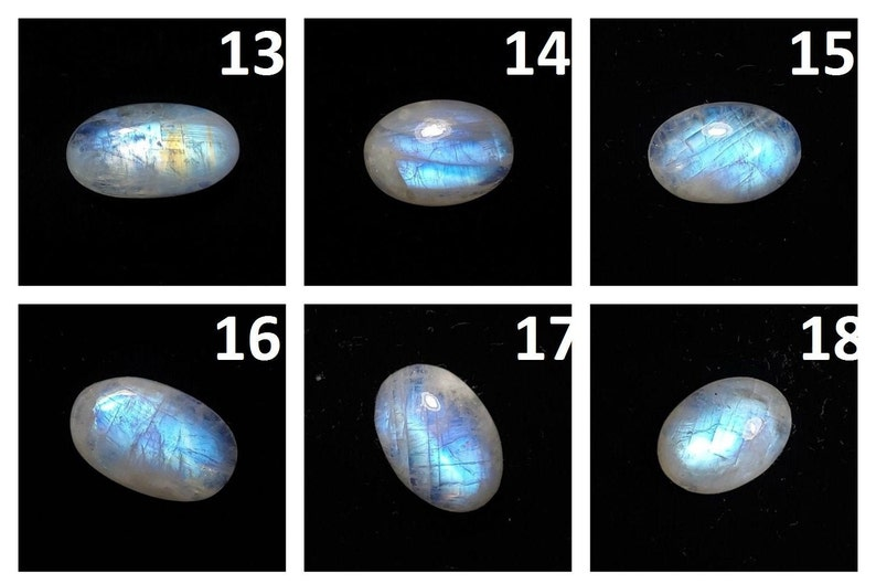 Natural Semiprecious Stone Blue Fire Rainbow Moonstone Smooth Oval Cabochon Loose Gemstone