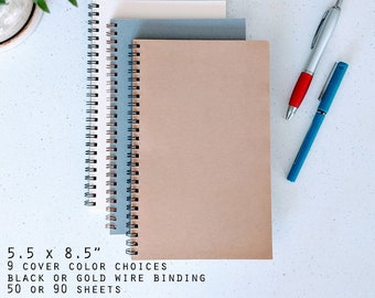 "Bulk Wire Bound Notebooks 5.5 x 8.5"" / Journals / Sketchbooks Blank, Lined, Dot Grid, Graph Paper, Wholesale, Workshop, Art, Assorted Colors"