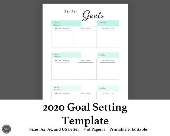 2020 Goal Printable Goal Planner Editable Goal Tracker Template Student Planner Insert