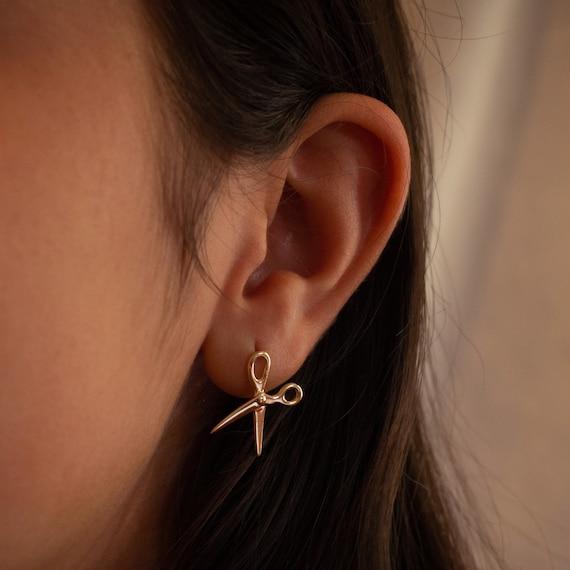 Sharp Scissor Earring 14K Yellow Gold Hairstylist Right Ear Fashion Designer Scissor jewelry Sharpness