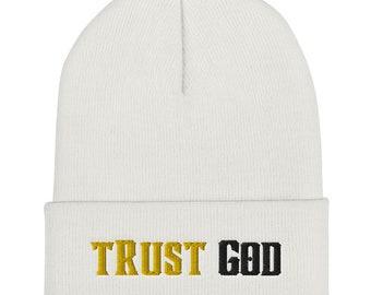 Trust God (Gold and Black) Cuffed Beanie