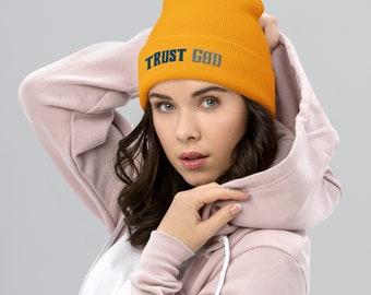 Trust God ( Blue and Gray) Cuffed Beanie