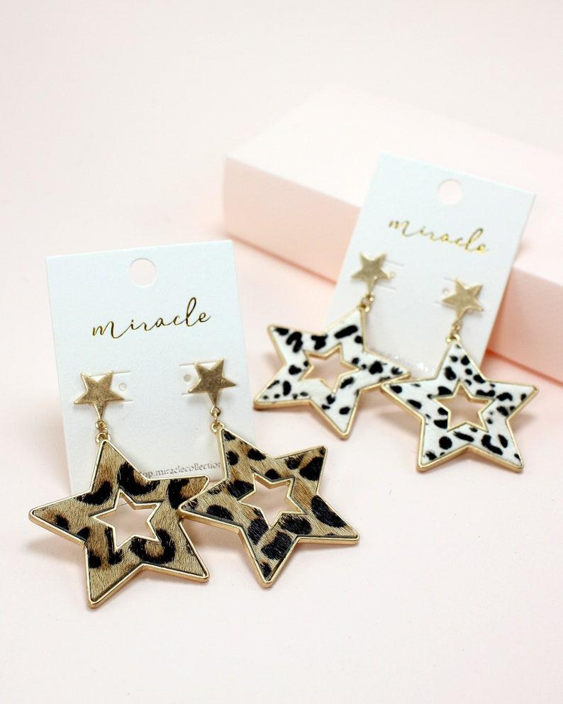 Genuine Leather Leopard Dalmatian Print Open Star Statement Dangle Drop Earrings for Women and Girls.