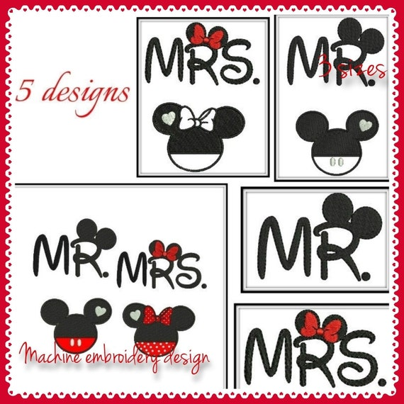 Mr Mrs Embroidery Machine Designs Minnie Mickey Applique Etsy